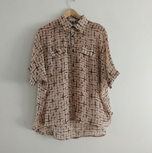 Oversized Sheer Button Down Shirt - M